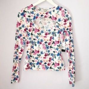 GUESS Zelda Belle Cut Out Top Ivory Floral S